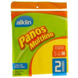 PANO MULTIUSO AMARELO 40 X 36CM ALKLIN C/2 REF.7002